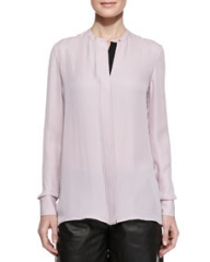 Vince Contrast-Placket Silk Blouse at Neiman Marcus