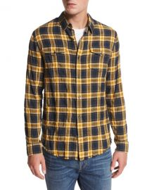 Vince Frayed Edge Plaid Western Shirt at Neiman Marcus