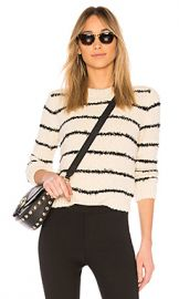 Vince Fuzzy Striped Crew Pullover in Cream  amp  Black from Revolve com at Revolve