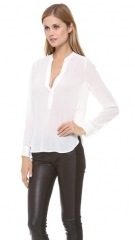 Vince Half Placket Summer Blouse in white at Shopbop