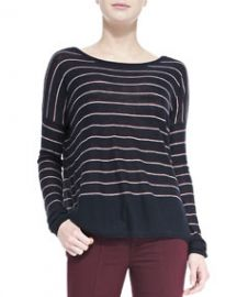 Vince Knit Stripe Crewneck Sweater at Neiman Marcus
