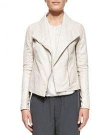 Vince Lambskin Scuba Jacket Off White at Neiman Marcus