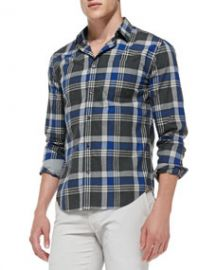Vince Large-Plaid Poplin Shirt BlueGray at Neiman Marcus