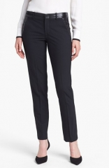 Vince Leather Trim Trousers at Nordstrom