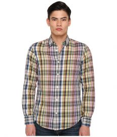Vince Linen Blend Plaid Button Down Anise Green Multi at 6pm