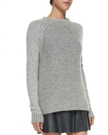 Vince Mixed-Knit Mock-Neck Sweater at Neiman Marcus