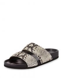 Vince Orion Python-Print Pool-Slide  Black White at Neiman Marcus