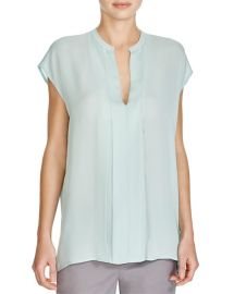 Vince Pleated Silk Top in Santorini Blue at Bloomingdales
