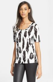 Vince Plume Print Scoop Neck Tee at Nordstrom