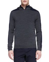 Vince Racing-Stripe Hooded Pullover Gray at Neiman Marcus