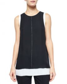 Vince Round-Neck Double-Layer Tank Top at Neiman Marcus