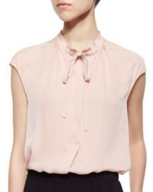 Vince Silk Cap-Sleeve Tie-Neck Blouse at Neiman Marcus