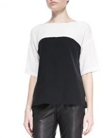 Vince Silk Colorblock Short-Sleeve Blouse at Neiman Marcus