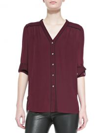 Vince Silk Contrast-Piping Blouse  Shiraz-Black at Neiman Marcus