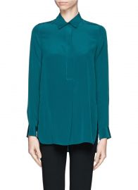 Vince Silk Half Placket Blouse at Lane Crawford