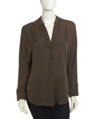 Vince Silk Placket Tunic at Last Call
