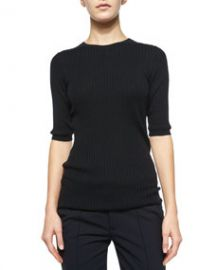 Vince Skinny Ribbed Short-Sleeve Top at Neiman Marcus