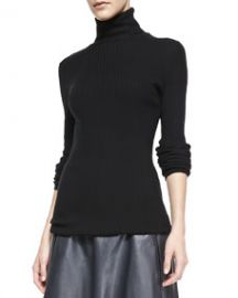 Vince Slim Ribbed Knit Turtleneck Black at Neiman Marcus