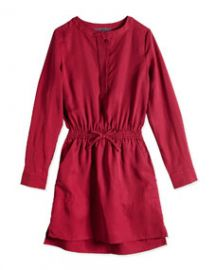 Vince Tenceland174 Drawstring Shirtdress Cranberry Sizes 4-6X at Neiman Marcus