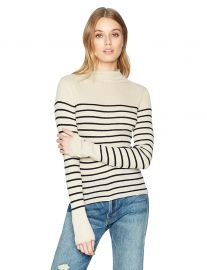 Vince Women s Striped Roll Edge Mock Neck at Amazon