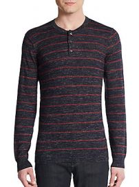 Vince Wool Linen Slub Striped Henley at Saks Off 5th