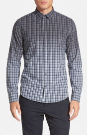 Vince and39Degrade Geoand39 Trim Fit Plaid Sport Shirt at Nordstrom