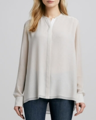 Vince double layer silk blouse at Bergdorf Goodman