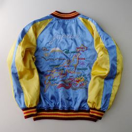 Wornontv sophias blue and yellow embroidered bomber jacket with vintage japanese bomber jacket at etsy gumiabroncs Image collections