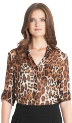 Vintage Leopard Bark Lorelei Blouse at DVF