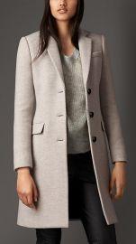 Virgin wool cashmere herringbone chesterfield coat at Burberry