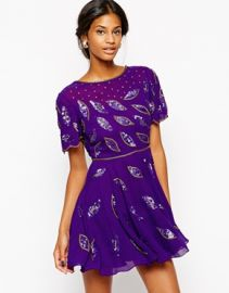 Virgos Lounge Gia Skater Dress With All Over Embellishment and Cowl Back at Asos