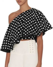 Viva Aviva Single Shoulder Polka Dot Top at Intermix