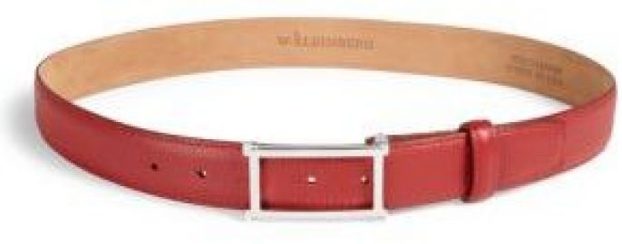W  Kleinberg - Rectangle Buckle Leather Belt red at Saks Fifth Avenue