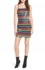 WAYF Lille Rainbow Stripe Sequin Minidress at Nordstrom