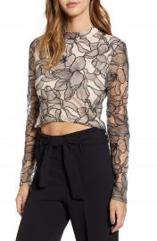 WAYF Mina Cropped Lace Top at Nordstrom