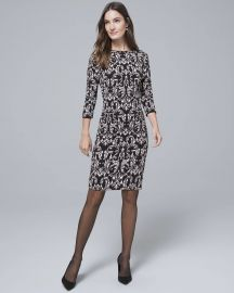 WHITE HOUSE BLACK MARKET REVERSIBLE FLORAL FILIGREE PRINT KNIT SHEATH DRESS at WHBM