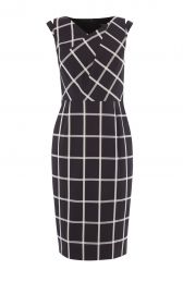 WINDOWPANE CHECK DRESS black white at Karen Millen
