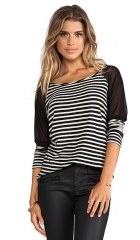 WOODLEIGH Kristina Top in Black and White Stripe  REVOLVE at Revolve