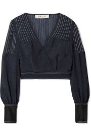WRAP-EFFECT CREPE AND SATIN-TRIMMED VOILE BLOUSE at Net A Porter