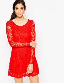 Wal G  Wal G Lace Skater Dress with Long Sleeves at Asos