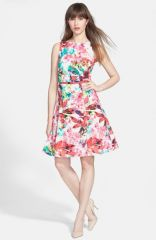 Wallis and39Orchid Leafand39 Cotton Fit andamp Flare Dress at Nordstrom