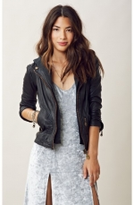 Washed leather moto jacket by Doma at Planet Blue