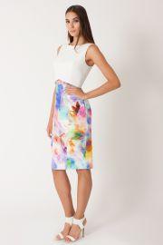 Watercolor Print Jasper Pencil Skirt at Black Halo