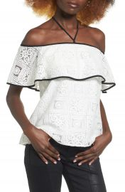 Wayf Evelyn Off the Shoulder Lace Top at Nordstrom