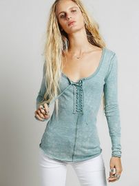 We The Free   Lace Up Layering in Green at Free People