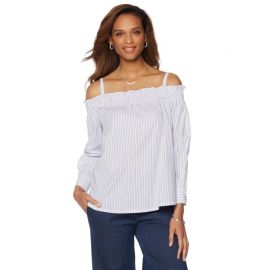 Wendy Williams Off-the-Shoulder Striped Top with Removable Straps at HSN