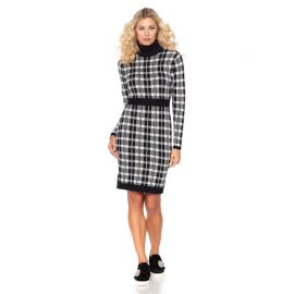 Wendy Williams Plaid Turtleneck Sweater Dress at HSN