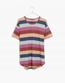 Whisper Cotton Crewneck Tee in Longrock Stripe at Madewell