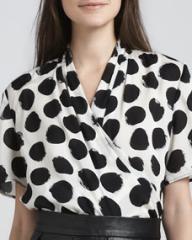 Whit Draped Polka-Dot Blouse at Neiman Marcus