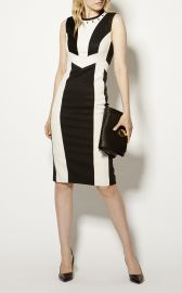 White Contrast Panel Dress at Karen Millen